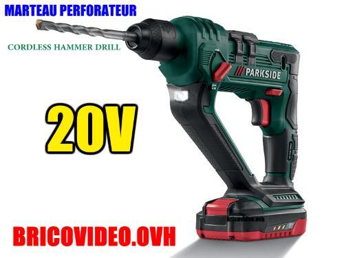 Parkside cordless hammer drill 20v lidl pabh 20-li a1